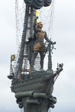 Peter the great on a ship. Fragment of the monument In commemoration of the 300th anniversary of Russian fl Stock Photo