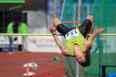 Peter Horak - high jump in Prague 2012 Royalty Free Stock Photos