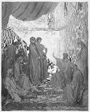 Peter in the House of Cornelius. Picture from The Holy Scriptures, Old and New Testaments books collection published in 1885, Stuttgart-Germany. Drawings by royalty free illustration