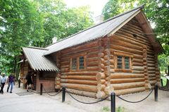 Peter hut. The wooden zar peter shed inside the kolomenskoe park at moscow in russia royalty free stock photo