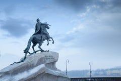 Peter I monument i St Petersburg Arkivfoto