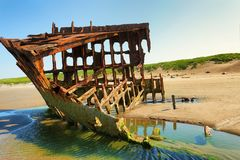 Peter Iredale Ship Wreck at Low Tide stock photos