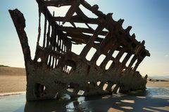 Peter Iredale Ship Wreck at Low Tide royalty free stock photography