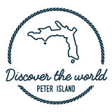 Peter Island Map Outline L'annata scopre Fotografie Stock