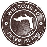 Peter Island map vintage stamp. Retro style handmade label, badge or element for travel souvenirs. Brown rubber stamp with island map silhouette. Vector Stock Photography