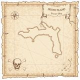 Peter Island old pirate map. Royalty Free Stock Photography
