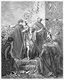 Peter and John Cure a Lame Man. Picture from The Holy Scriptures, Old and New Testaments books collection published in 1885, Stuttgart-Germany. Drawings by Royalty Free Stock Images