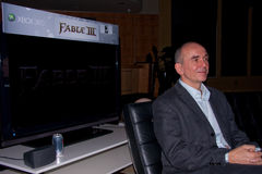Peter Molyneux introducing Fable 3 at X10 Royalty Free Stock Image