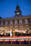 Peter Nero and the Philly Pops performing in front of historic Independence Hall, Stock Images