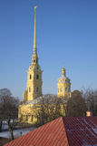 Peter och Paul domkyrka fästning paul peter okhtinsky petersburg russia för bro saint Royaltyfria Bilder