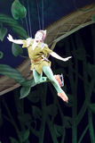 Peter Pan Flying. GREEN BAY, WI - MARCH 10:  Peter Pan on skates flies high above the ice at the Disney on Ice Treasure Trove show at the Resch Center on March Royalty Free Stock Photos