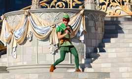 Peter Pan na fase no mundo de Disney Imagem de Stock Royalty Free