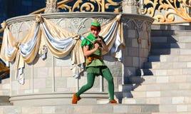 Peter Pan på etapp på den Disney världen Royaltyfri Bild