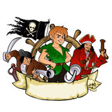Peter Pan and the pirates emblem Royalty Free Stock Photography