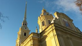 Peter and Paul Cathedral, Петропавловский собор. HIstorical Peter and Paul Cathedral  on a background of blue sky.  Saint Petersburg, Russia Stock Photo
