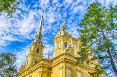 Peter and Paul Cathedral bell tower view from below up  clear sk Royalty Free Stock Photos