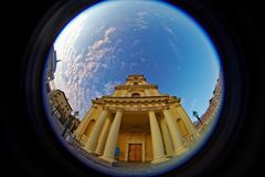 Peter and Paul cathedral iin Peter and Paul Fortress. Fish eye lens creating a circular super wide angle view Stock Photos