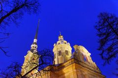 Peter and Paul Cathedral on island in center of Fortress at night. Saint Petersburg, Russia Stock Images