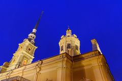 Peter and Paul Cathedral on island in center of Fortress at night. Saint Petersburg, Russia Stock Photos
