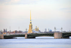 Peter and Paul Cathedral and Palace Bridge. Peter and Paul Cathedral and Palace Bridge in St.Petersburg, Russia Royalty Free Stock Image