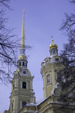 Peter and Paul Cathedral in St. Petersburg, Russia, winter snowfall Royalty Free Stock Photography