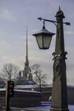 Peter and Paul Cathedral in St. Petersburg, Russia, winter snowfall Stock Photos
