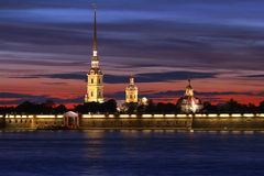 Peter and Paul Cathedral at sunset, St Petersburg Stock Photos