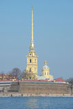 Peter and Paul Cathedral and the Trubetskoy bastion sunny march day. Peter and Paul fortress, St. Petersburg Stock Photos