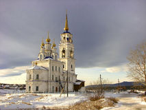 Peter and Paul Church in Severouralsk. Sverdlovsk region. Russia. Severouralsk, Sverdlovsk region, Russia - March 30, 2013: The two-story white stone building Stock Photography