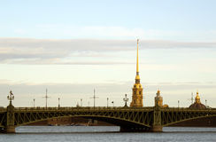The Peter and Paul Fortress. The Peter and Paul Fortress silhouette in an early morning, Saint-Ptersburg Royalty Free Stock Image