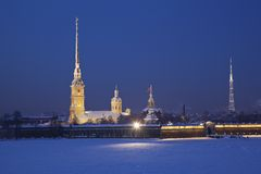 Peter and Paul Fortress. Neva river. Saint-Petersburg. Russia royalty free stock photo