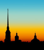 Peter and Paul Fortress. Silhouette of Peter and Paul Fortress in St. Petersburg, Russia Royalty Free Stock Photo