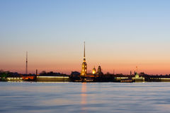 The Peter and Paul Fortress. In beams of a dawn. Saint Petersburg, Russia Stock Photography