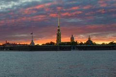 Peter and Paul Fortress against the backdrop of a mystical sunset. Saint-Petersburg. Russia royalty free stock photos