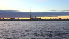 Peter and Paul fortress against the background of the may twilight. Saint Petersburg stock video footage