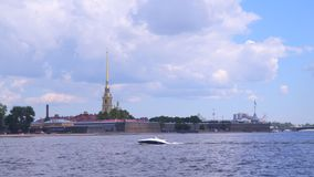 Peter and Paul Fortress against the sky with clouds stock footage