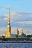 Peter and Paul fortress on the banks of the river Neva in the summer in Saint-Petersburg stock photography