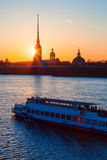 The Peter and Paul fortress and boat during the white nights Stock Photography