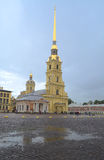 Peter and Paul Fortress. Cathedral of St. Peter and Paul in St. Petersburg fortress Royalty Free Stock Image