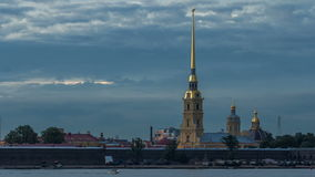 The Peter and Paul Fortress day to night timelapse is the original citadel of St. Petersburg, Russia stock video footage