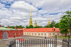 Peter and Paul fortress, the domes of Peter and Paul cathedral, inner yard and the Ingenerny Engineering house. Royalty Free Stock Image
