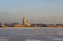Peter and Paul fortress February morning. Saint-Petersburg Stock Photo