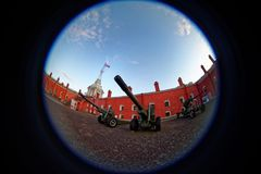 Peter and Paul Fortress. Fish eye lens creating a circular super wide angle view Stock Images