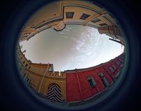 Peter and Paul Fortress. Fish eye lens creating a circular super wide angle view Stock Photography