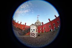 Peter and Paul Fortress. Fish eye lens creating a circular super wide angle view Royalty Free Stock Photography