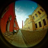 Peter and Paul Fortress. Fish eye lens creating a circular super wide angle view Stock Image