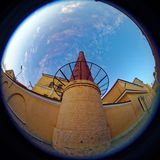 Peter and Paul Fortress. Fish eye lens creating a circular super wide angle view Stock Photo