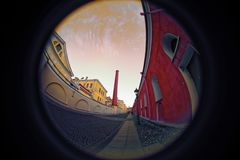 Peter and Paul Fortress. Fish eye lens creating a circular super wide angle view Stock Photos