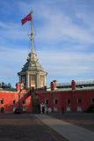 The Peter and Paul fortress. Flag tower. Stock Photos