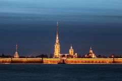 Peter and Paul Fortress in the ivening, St. Petersburg Stock Photo